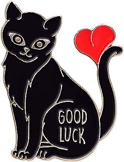 Avamie Good Luck Black Cat Enamel Lapel Pin