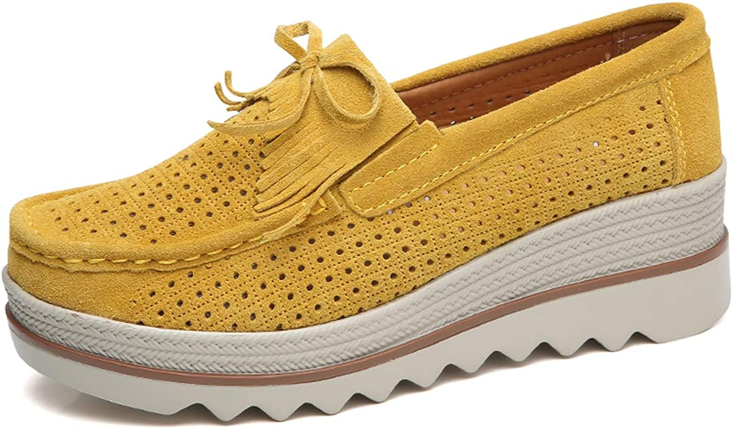 Ruiatoo Women Platform Slip On Loafers Comfort Genuine Suede with Tassel Hollow Out Low Top Moccasins Yellow 40