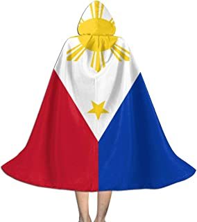 Republic of The Philippines National Flag Kid's Long Hooded Cloak Cape for Halloween Party Role Cosplay Costumes (Unisex)