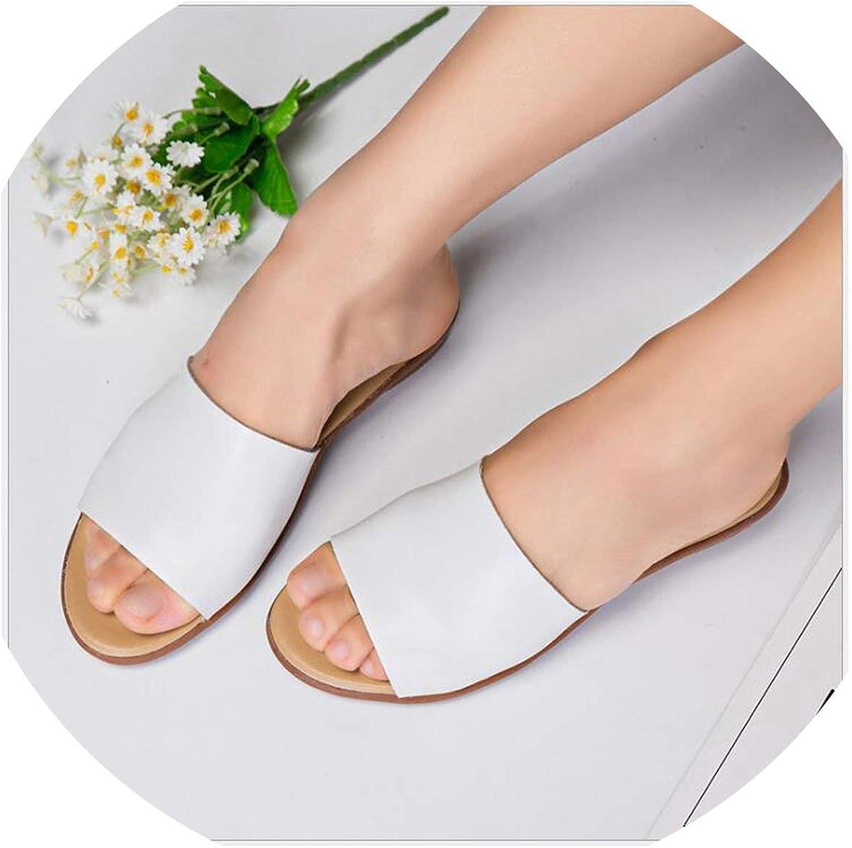 Summer Women Slippers Genuine Leather Flat Heels Open Toe Platform flip Flops Women Slides shoes