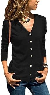 Women's Regular V-Neck Long Sleeve Button Down Slim Fit Knit Sweater Cardigans