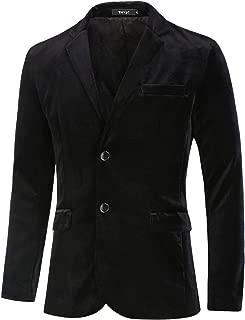 Men Velvet Blazer Slim Fit Notch Lapel Two Buttons Sport Coat Jacket
