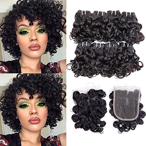 """9A Peruvian Curly Human Hair Weave 8 Bundles Remy Human Hair Bundles with Closure Middle Part Ocean Weaving Virgin Hair Extensions Short Curly Bob Hair 25g/Bundle(8"""" 8"""" 8"""" 8"""" 8"""" 8"""" 8"""" 8"""" with 8"""")"""