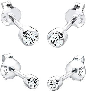 comprar comparacion Elli Pendientes para damas set básico con cristales Swarovski® en plata esterlina de ley 925