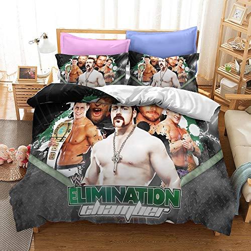 NICHIYO World Wrestling Entertainment WWE Juego de funda nórdica y funda de almohada, microfibra, impresión digital 3D de tres piezas (12,SK 260 x 220 cm + 80 x 80 cm)
