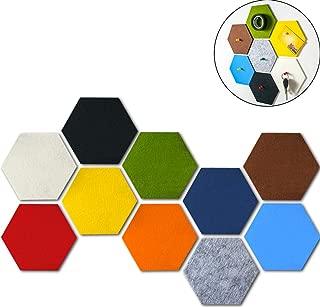 WINGOFFLY 10 PCS Nursery Wall Stickers Decor Felt Memo Board with Push Pins Self-Adhesive Hexagon Pads Bulletin Pin Board (5.3