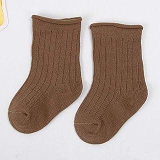 YXXB, YXXB 5 Pares 0-12y Calcetines de algodón para bebés Niños para niños y niñas Otoño Invierno Calcetines Cortos Calcetines Acanalados de Color sólido para bebés-2_5-8 años