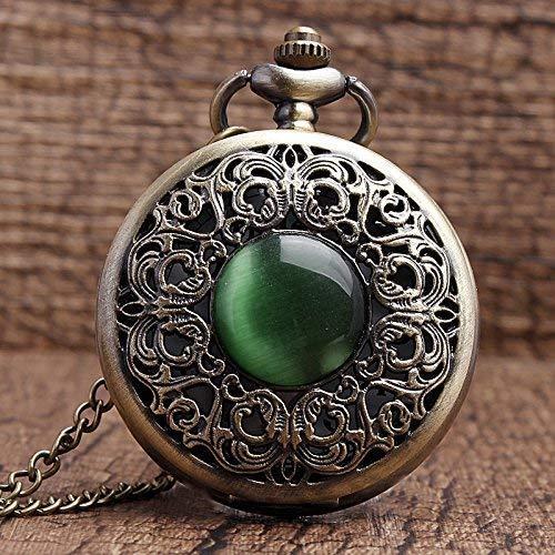 LXYZ Collar de Piedra de Jade de imitación Hueco de Bronce, Colgantes Decorados, Reloj de Bolsillo, decoración Esmeralda, Regalos Chian para Hombres y Mujeres