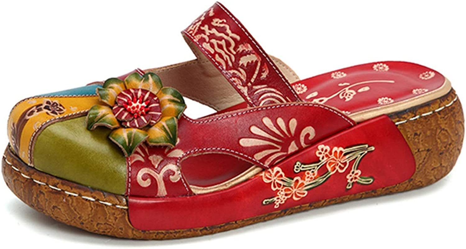 Full Leather Women's shoes Handmade Printed Retro Flat shoes Handmade color Leather Sandals Women's shoes (color   Red, Size   8US)