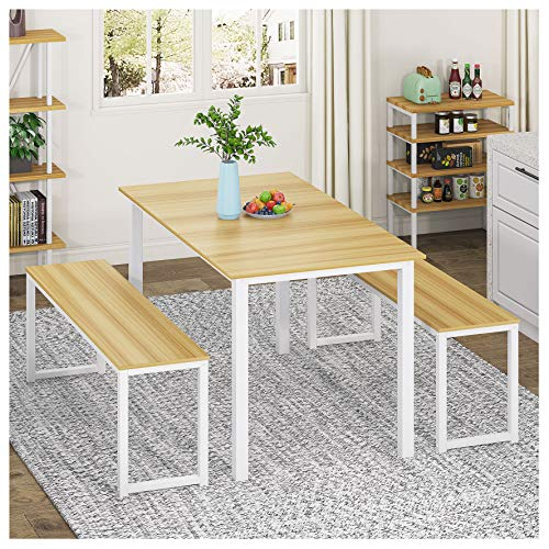 HOMURY 3 Piece Dining Table Set Breakfast Nook Dining Table with Two Benches,White