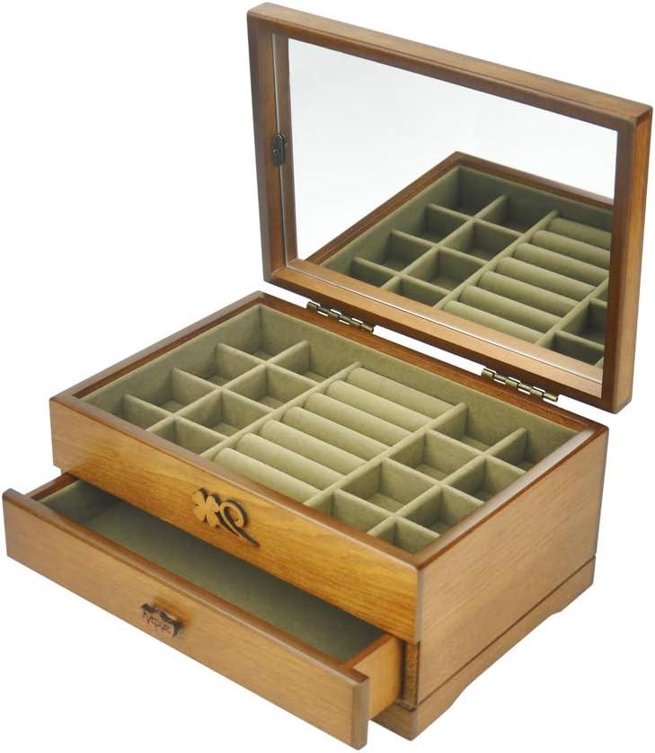 vvhu Wood Jewelry Max 50% OFF Box 1 Drawers Organizer online shopping Mirrored Jewel