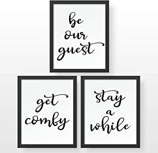 Bedroom - Guest Room- Decor Art Prints - Awesome Set of 3 (8 x 10 inch) Prints - be our guest - stay a while & get comfy