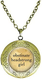Pride and Prejudice obstinate, Headstrong Girl Jane Austen - Book Locket Necklace