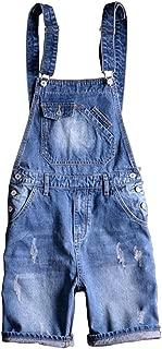 Men's Summer Blue Plus Size Denim Bib Overalls Shorts