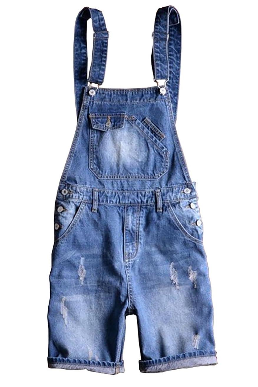 Sokotoo Men's Summer Blue Plus Size Denim Bib Overalls Shorts
