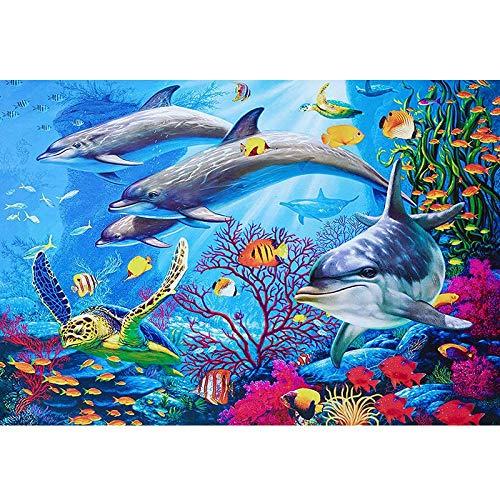 N/T Festival Bildung Bedeutung Studenten Dekoration Erwachsene Delfin Handgemalt Malerei Segeltuch Farbe zu Digital Preprint Segeltuch Geschenk FF-173