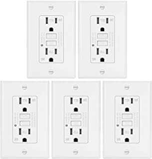 5 Pack - ELECTECK Weather Resistant GFCI Outlet, Ground Fault Circuit Interrupter with LED Indicator, 15-Amp Tamper Resistant Receptacle, Decorator Wall Plate Included, ETL Certified, White