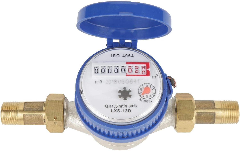 Nannigr Medidor de Agua fría, medidor de Agua, medidor de Agua para el hogar con caudal Nominal 1,5, medidor de Agua para Uso en el hogar