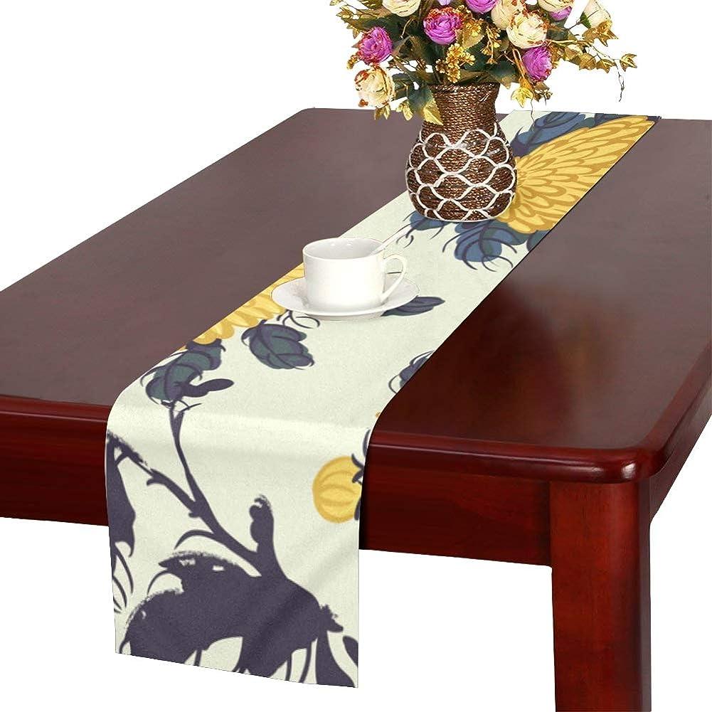 異邦人びん間に合わせLKCDNG テーブルランナー 黄色 きれい 和風の花 クロス 食卓カバー 麻綿製 欧米 おしゃれ 16 Inch X 72 Inch (40cm X 182cm) キッチン ダイニング ホーム デコレーション モダン リビング 洗える
