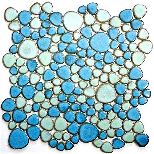 Mosaik Fliese Keramik Kiesel hellblau hellgrün glänzend für BODEN WAND BAD WC DUSCHE KÜCHE FLIESENSPIEGEL THEKENVERKLEIDUNG BADEWANNENVERKLEIDUNG Mosaikmatte Mosaikplatte