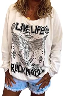 Womens Casual Crewneck Print Pullover Long Sleeve Loose Blouse Shirt O-Neck Sweatshirt