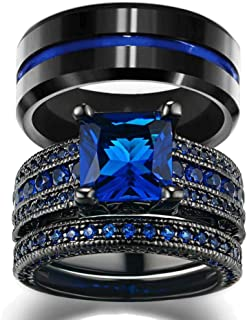 His and Hers Wedding Ring Sets Couples Rings Women 10K Black Gold Filled Blue Cz Wedding Engagement Ring Bridal Sets Men's Stainless Steel Wedding Band