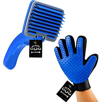 BLACK DOG Slicker Brush Pet Grooming Glove for Dogs and Cats Shedding Small Medium Large Breeds (Blue) Pet Hair Remover Glove-Massage Five Finger for Dog, Cat with Long & Short Fur, Combo Pack 2