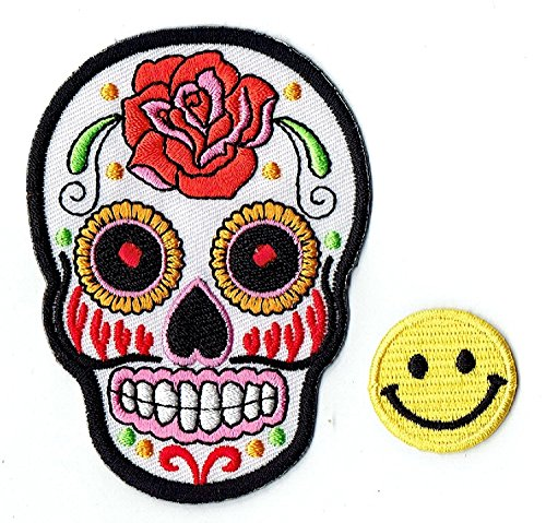 'White Rose Mexican Sugar Skull' Applique Embroidered Iron on Patches with Yellow Tiny Smiley Patches by Patch Cube