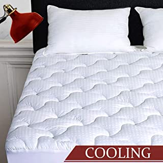 INGALIK Queen Mattress Pad Cotton Mattress Topper Cooling Mattress Pad Cover Pillow Top (8-21Inch Deep Pocket Down Alternative)