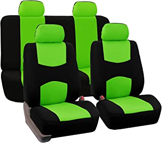 FH Group FB050GREEN114 Universal Fit Full Set Flat Cloth Fabric Car Seat Cover, (Green/Black) (FH-FB050114, Fit Most Car, Truck, SUV, or Van)