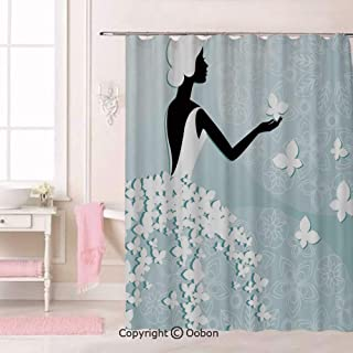 Oobon Bride in Butterfly Dress on Abstract Floral Backdrop, Fabric Bathroom Decor Set with Hooks, 70 Inches Extra Long