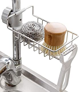 Kitchen Faucet Sponge Holder Kitchen Sink Organizer, Faucet Rack Storage Rack Stainless Steel Sink Faucet Sponge Holder Si...