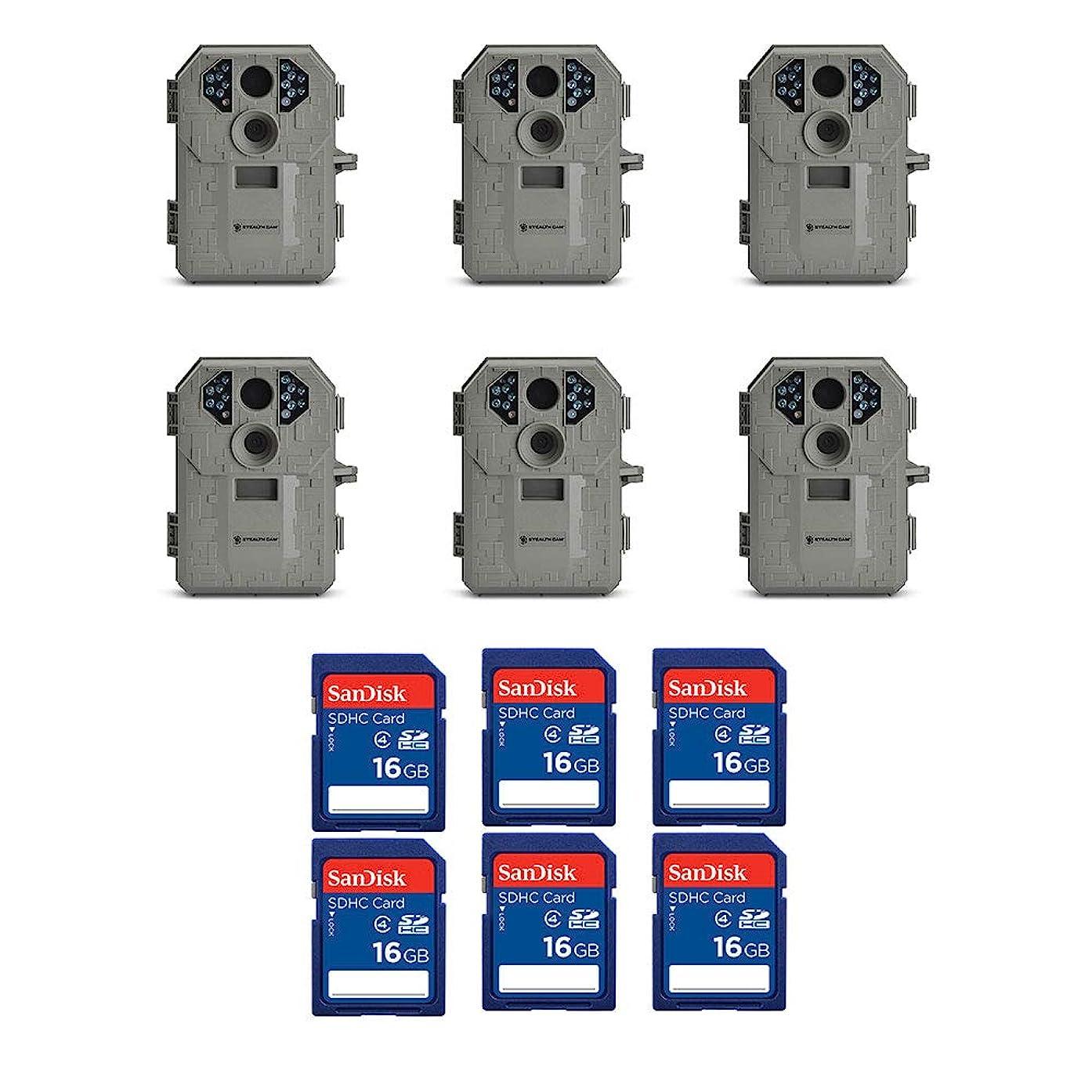Stealth Cam 6MP IR Game Camera (6 Pack) & SanDisk 16GB SD Memory Card (6 Pack)