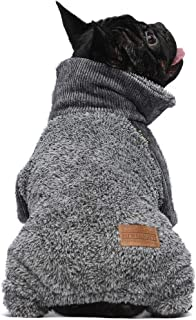 Fitwarm Fuzzy Thermal Turtleneck Dog Clothes Winter Outfits Pet Jumpsuits Cat Coats Velvet Grey