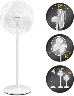 TROTEC Ventilador de pie TVE 23 S/Silencioso / 50 W/Blanco/Ajustable en Altura / 3 Velocidades de Ventilación/Oscilación Automática de 80° / Base Estable y Antideslizante