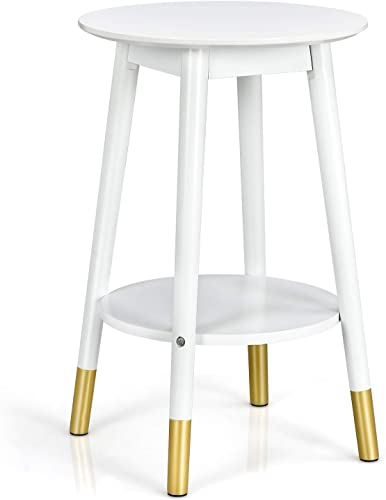 popular Giantex End Table 2-Tier with Storage Shelf, Round Nightstand for Bedroom, Living Room, Balcony, Office, Sofa Beside Table for Small Space, Narrow Corner Coffee Nesting Table 2021 (1, online sale White) outlet online sale