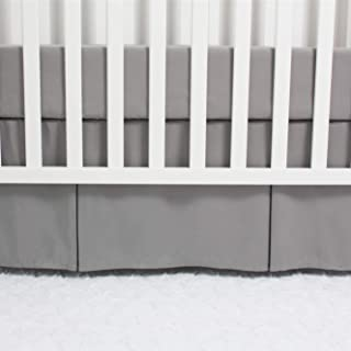 CaSaJa Classic Microfiber Crib Skirt with One Side Pleated, Soft Breathable Dust Ruffle Fits Standard Crib and Toddler Bed, Neutral Color for Baby Boys and Girls, 14 inches Drop, Grey