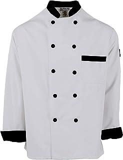 Chef Trends Plastic Button Black Trim Chef Coat