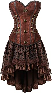 Grebrafan Steampunk Corset Skirt with Zipper,Multi Layered High Low Outfits