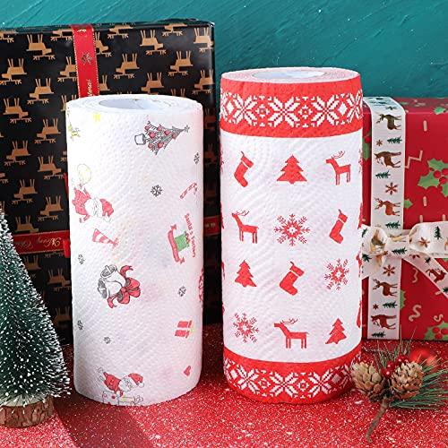 Papel de Navidad Impreso con patrón navideño,2 rollos de reno de Papá Noel,baño para el hogar baño cocina rollo de papel...