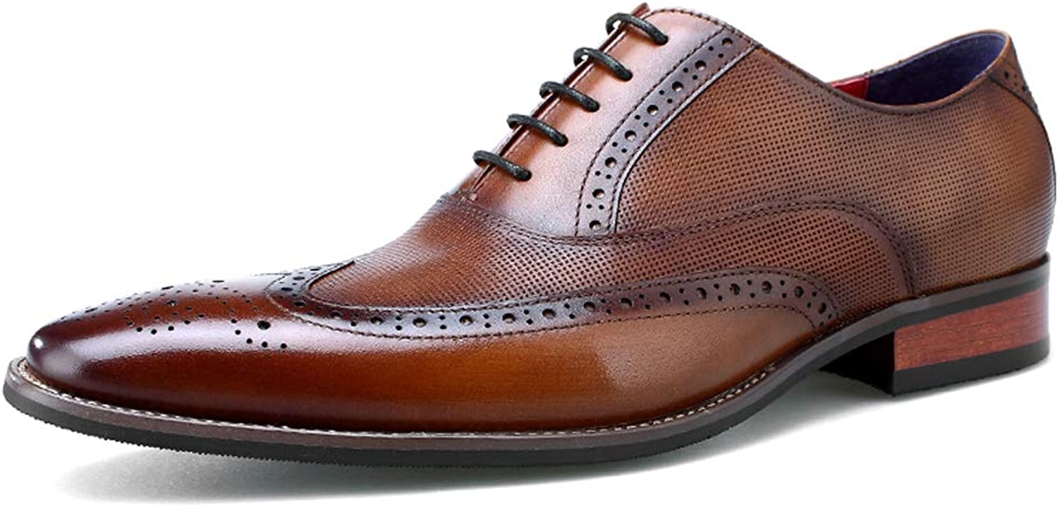 StickSeek Italian Genuine Leather Men's Formal Dress Oxfords Pointed Toe Man Carved Semi Brogue shoes