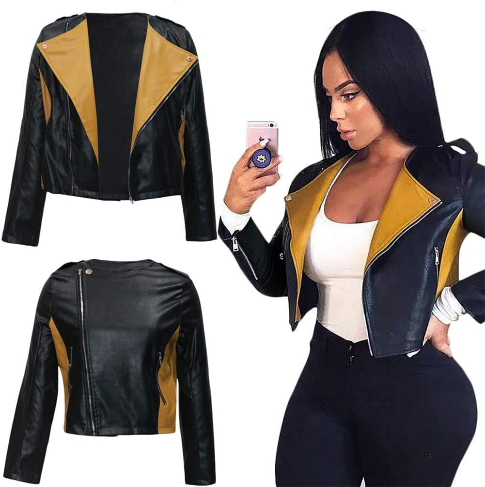 Women's Punk Motorcycle Jacket Leather Lapel Vintage Short Coat Casual Overcoat Biker Racer Outwear,Black,XL