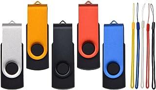 Pendrive 5 Piezas 2GB Memoria USB 2.0, Kepmem Funcional Portátil Llave Pen Drive 2 GB Flash Drives, Metal Giratoria Memorias Stick 2 Giga Almacenamiento de Datos Externo, Bien Colores con Cordones