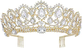 Penxina Crystal Wedding Tiara for Bride - Baroque Royal Queen Princess Crown for Bride Women Wedding Prom Party Birthday Rhinestone Headpieces (Gold+Clear)