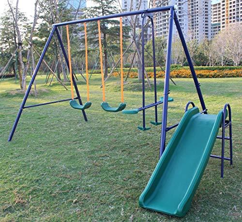 KLB Sport A-Frame Metal Swing Set w/ Slide (Blue, Green)
