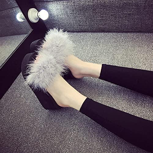 Perferct Zapatillas de casa para Mujer Baratas,2021 Ladies de Verano Mano-Fox Fox Soft Boft Boft Skpers, Pelo Grueso, Use Zapatillas de playa-40 (25 cm / 9.85')_Alto 7.2 cm a