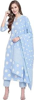 Stylum Women's Cotton Floral Print Straight kurta Pant and Dupatta Set