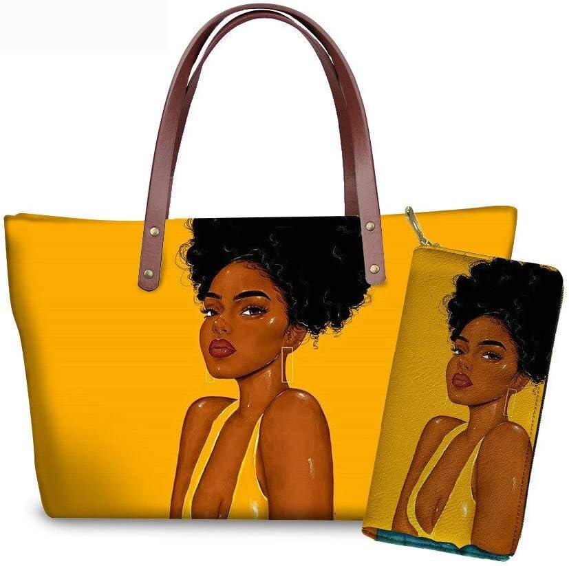 Handbags Women Financial sales sale Black Art African Girl Handbag Award set Printing 2pcs