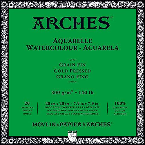 Arches Watercolor Paper Block, Cold Press, 7.9' x 7.9', 140 pound