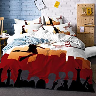 ARL HOME Sports Bedding 2 Piece Twin Size Basketball Duvet Cover Sports Boys Bedroom Decor 3D Slam Dunk Printing Quilts Cover with 1 Pillowcases for Children Teen Boy Adult Basketball Beding Set